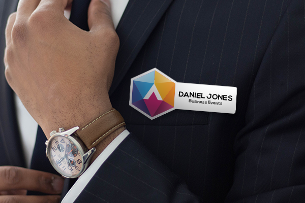 Personalized name badge with company logo