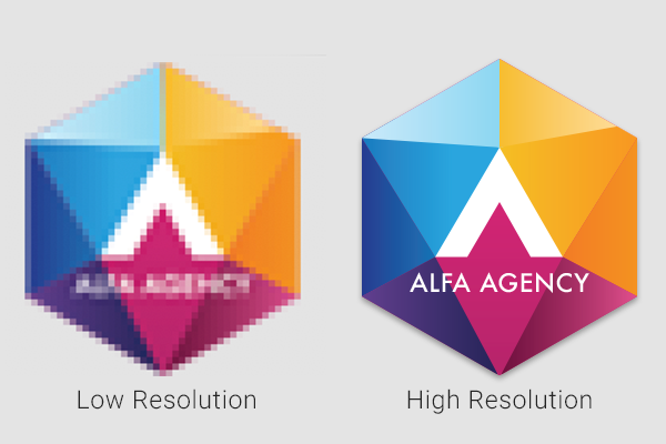 Business logo showcasing low resolution vs. high resolution