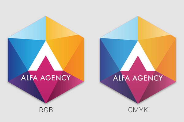 Business logo showcasing RGB vs. CMYK colorspace