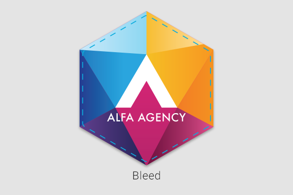 Business logo showcasing bleed outside of the die-cut line