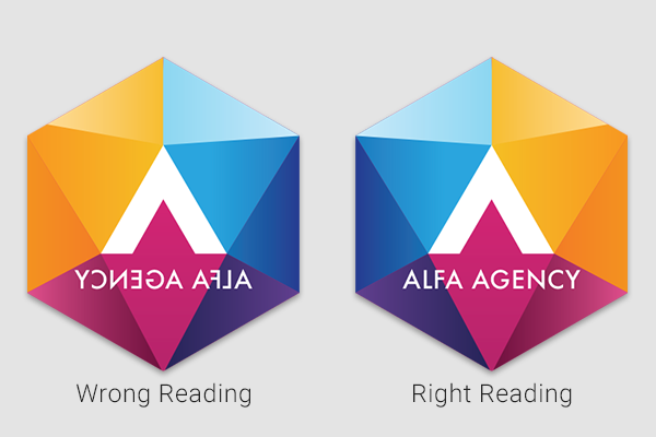 Business logo showcasing right-reading vs. wrong-reading