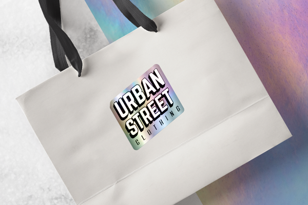 Iridescent sticker on shopping bag