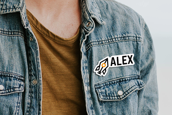 Branded company name badge on a jean shirt