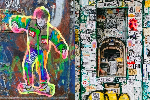 Examples of graffiti sticker art on walls