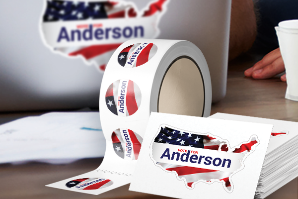 """Vote for Anderson"" roll labels and stickers"