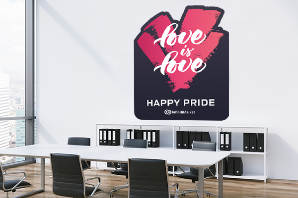 """Love is Love"" Pride Decal in a Office"