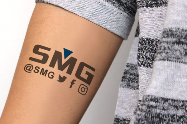 Temporary tattoo with a social media handle