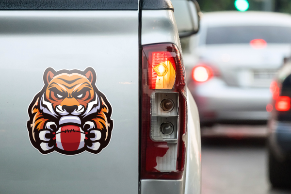Image of a die-cut sticker on a truck