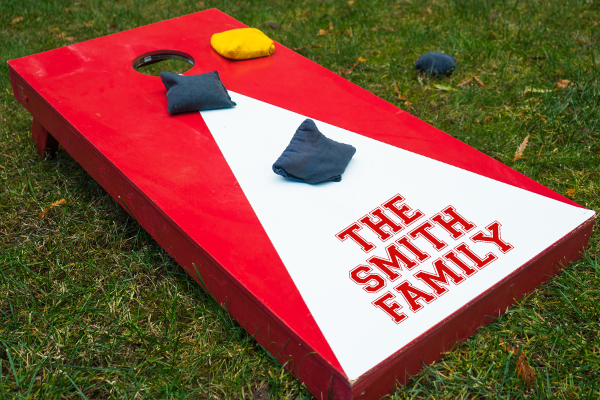 Image of a custom cornhole decal