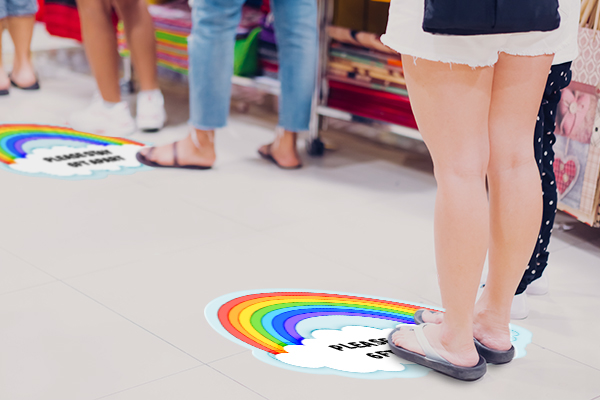 Keep customers at a safe social distance with a custom floor decal
