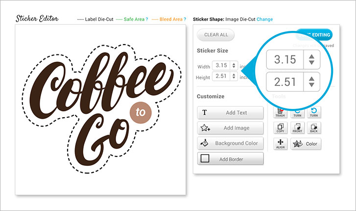 StickerYou editor featuring custom size tool