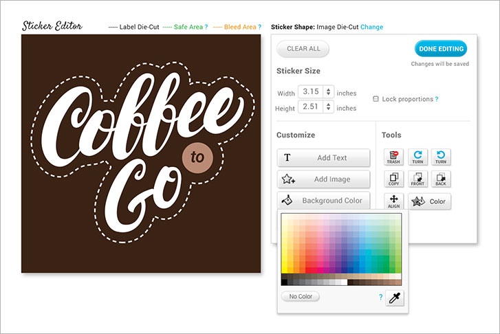 Stickeryou editor featuring the background color tool
