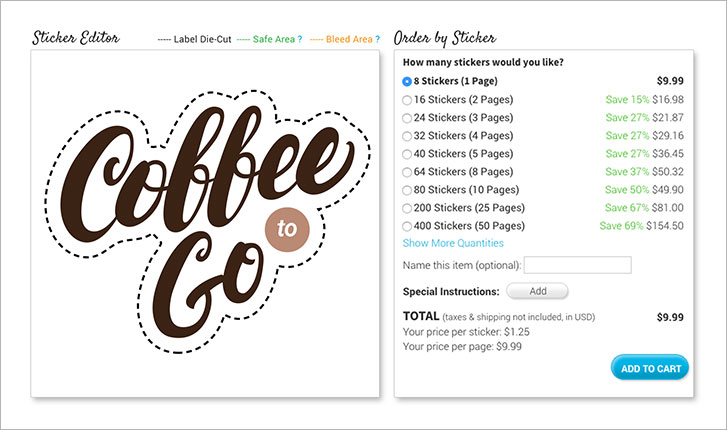 Stickeryou editor featuring quantity selection tool