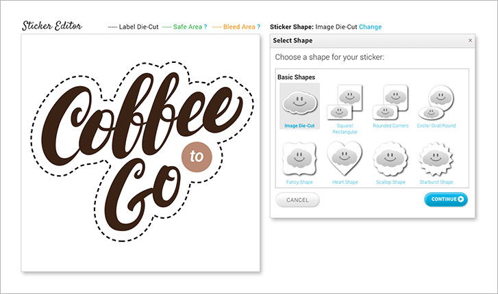 StickerYou editor featuring custom shape tool