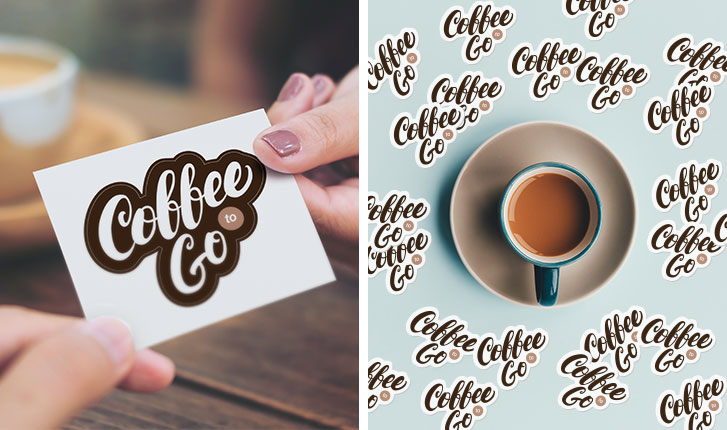 Coffee Shop logo sticker single compared to many die-cut single stickers