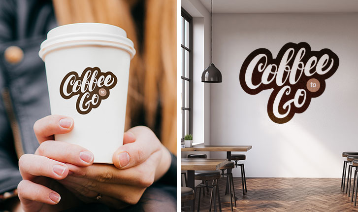 Coffee shop logo sticker on a coffee cup and a coffee shop logo decal on a cafe wall