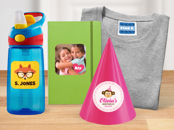 A variety of kids products with custom personalized stickers applied to them
