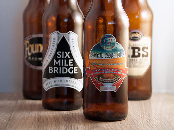 A variety of custom beer bottle labels