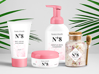 A variety of cosmetic products with custom labels