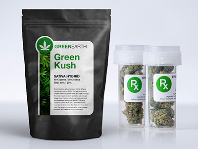 Custom marijuana packaging labels on a bag of marijuana and jars of marijuana
