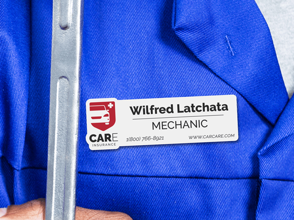 Custom name badge for mechanic auto shop