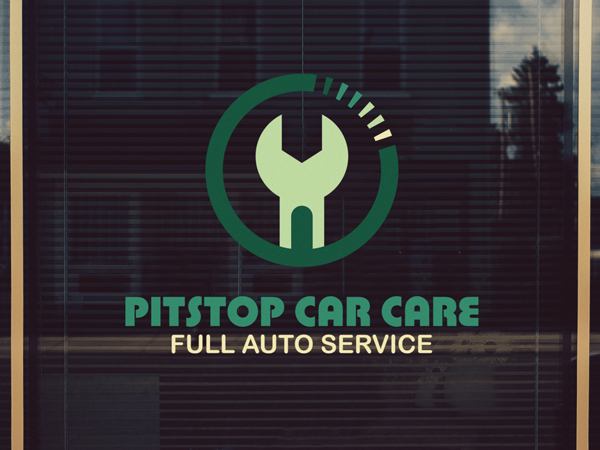 Automotive mechanic repair shop with custom window decal
