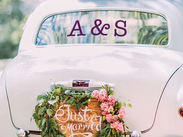 Vinyl Lettering and Numbers for Weddings