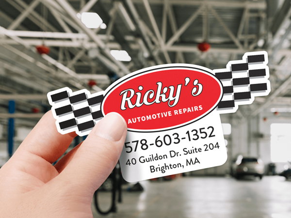 Die-cut custom sticker of auto repair shop logo