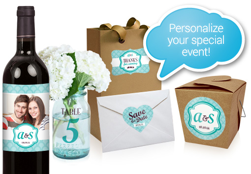 Personalized event and wedding labels