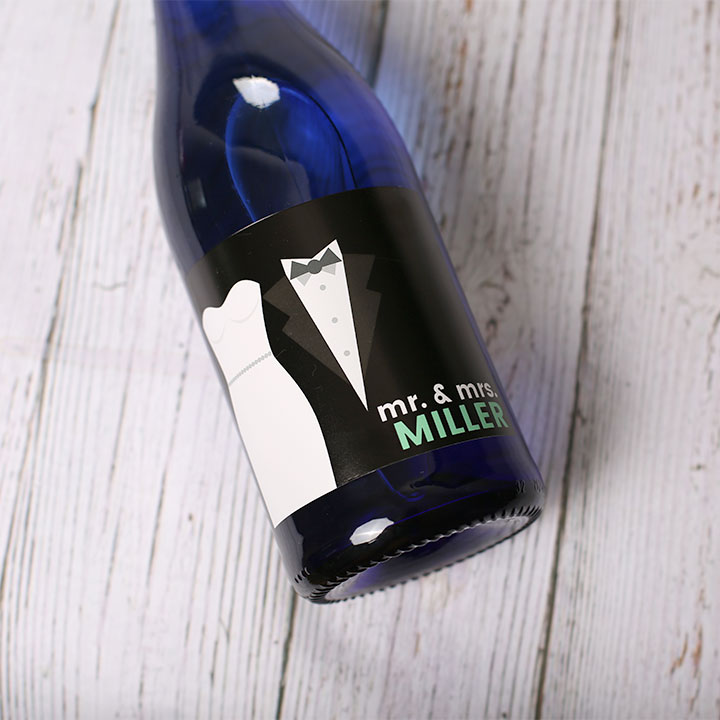 Custom wedding label on a wine bottle