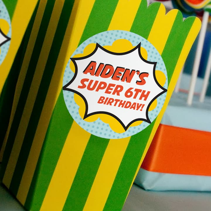Custom Birthday Party Favor Labels