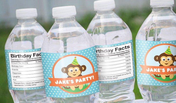 Birthday Party Labels, Water Bottle Labels