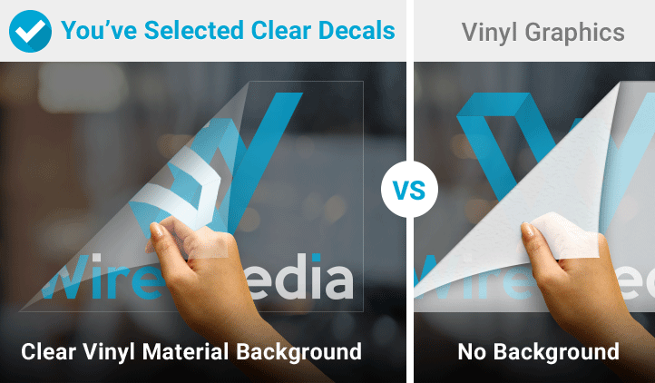 Clear decals and vinyl graphic decal comparison