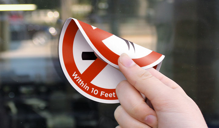 No smoking double sided label