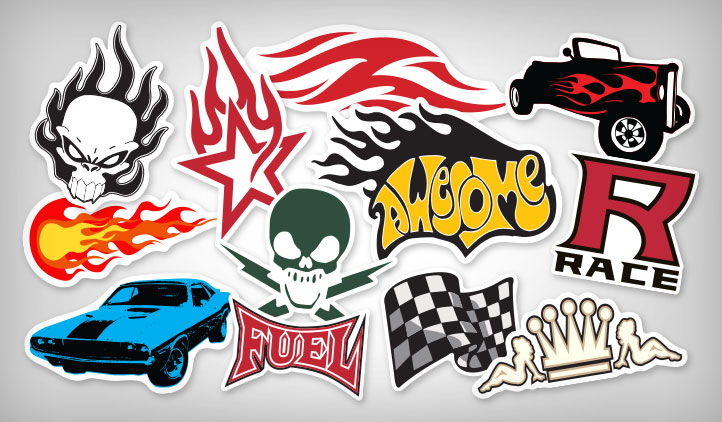 Flame racing stickers