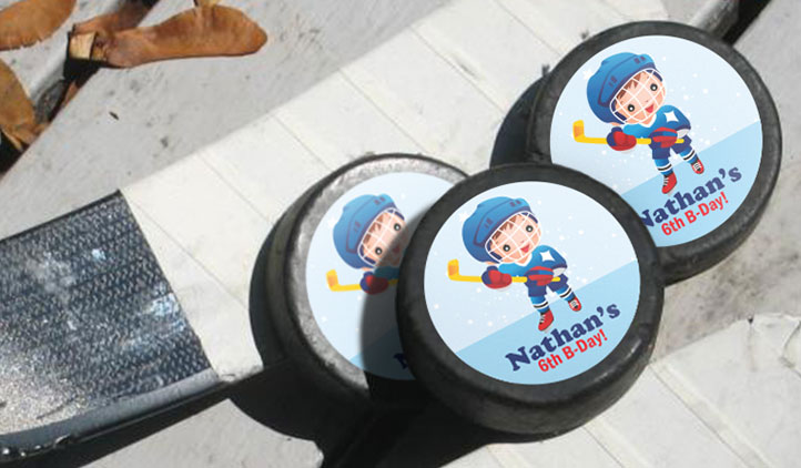 Hockey Puck Labels, Birthday Party Favors
