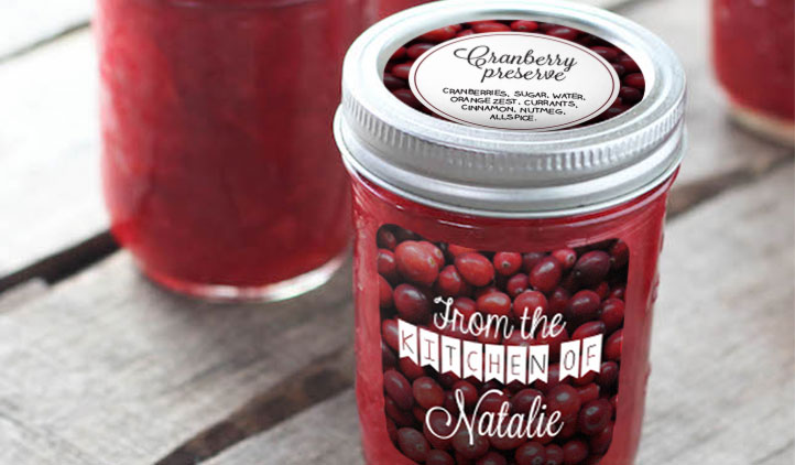 Cranberry Jam Jar Labels