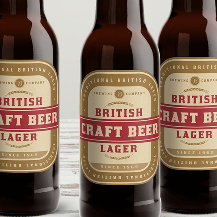 Custom matte roll beer bottle labels