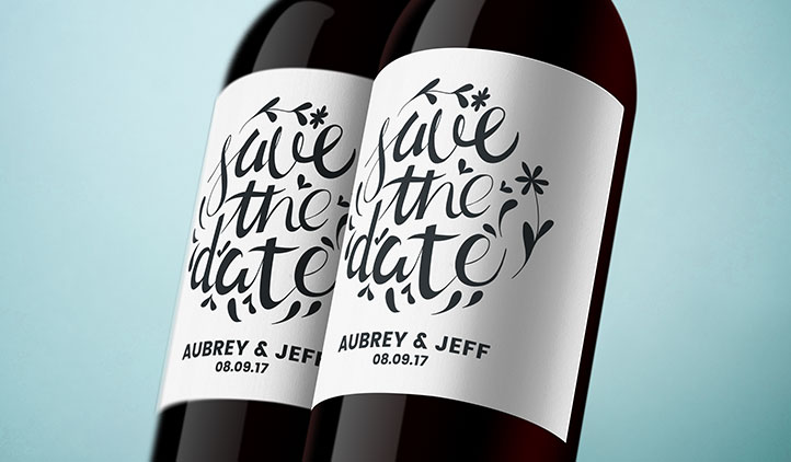 Custom matte wine bottle roll labels