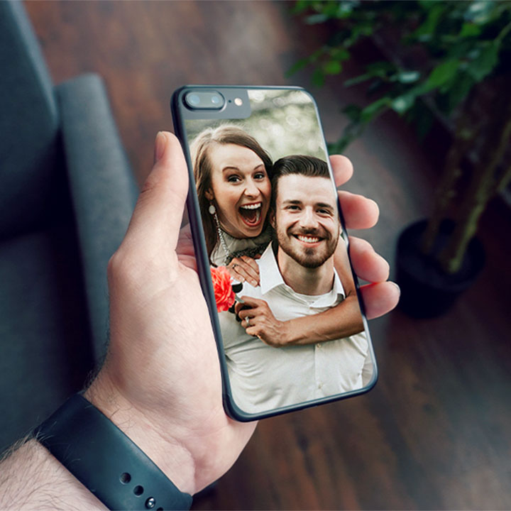 Custom vinyl iPhone skin with photo of a couple