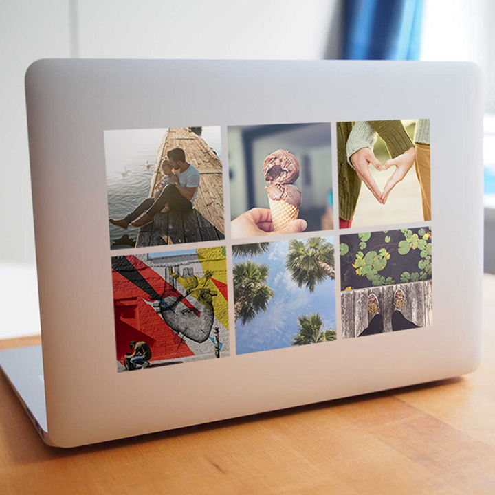 Custom photo stickers on a laptop