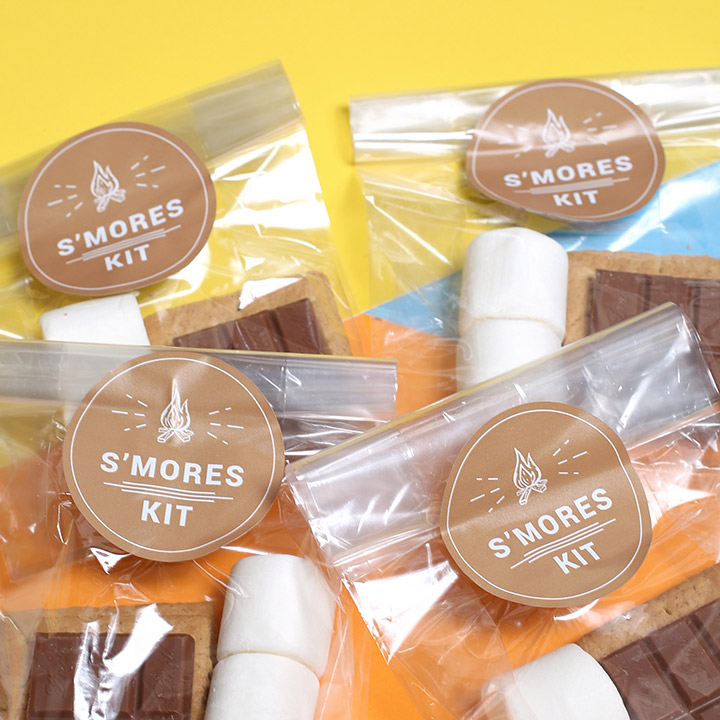 Round stickers on smores kit packaging
