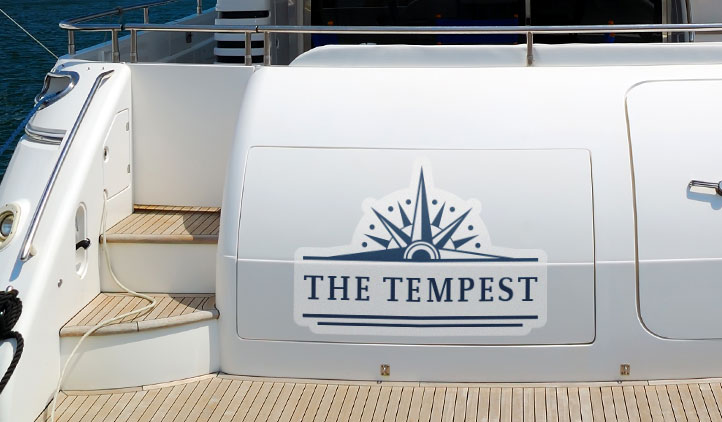 Custom decals on the back of a boat