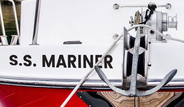 Vinyl lettering decals on a boat