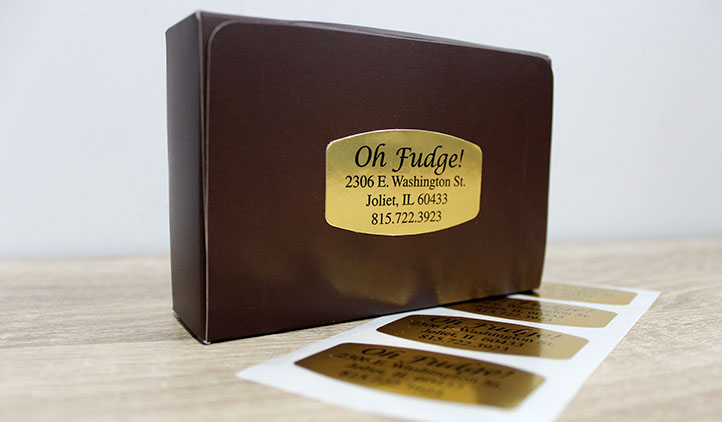 Gold foil label on a chocolate box