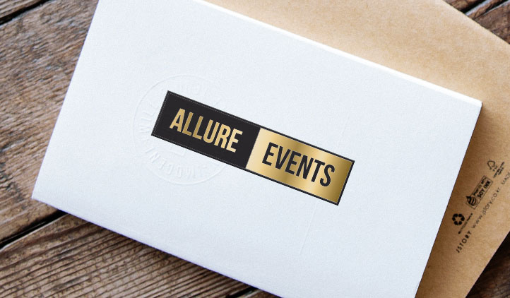 Gold foil label on an envelope