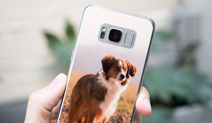 Custom vinyl Samsung Galaxy skin with photo of a dog