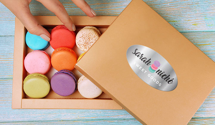 Silver Foil Label on a macaroon box