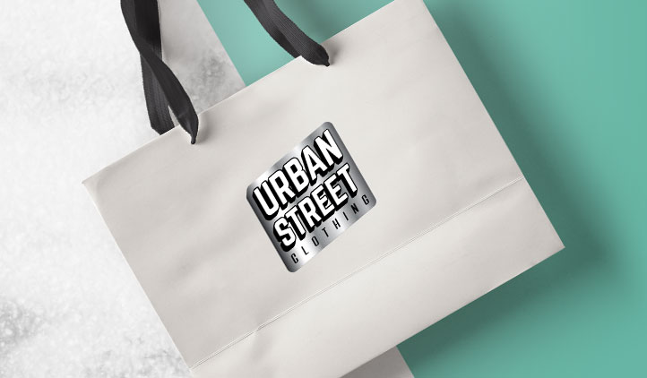 Silver foil label on a shopping bag