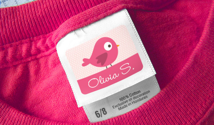 Stick-on clothing label on a clothing tag